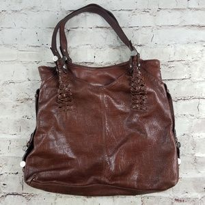 b makowsky Brown Crocodile Leather Tote Hobo Bag